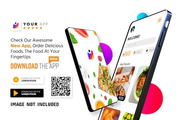 Logotipo do modelo de promoção de aplicativo de smartphone e botões de download com leitura de código qr