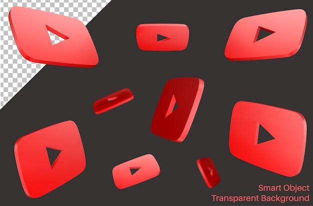 Logotipo do player de vídeo voador do youtube em estilo 3d