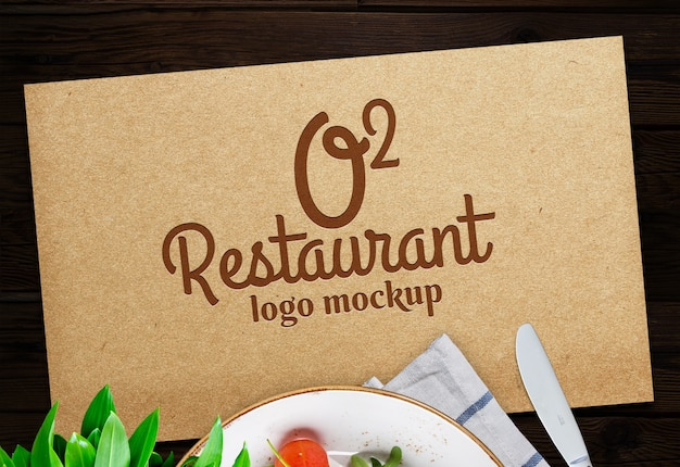 Logotipo do restaurante free psd mock up