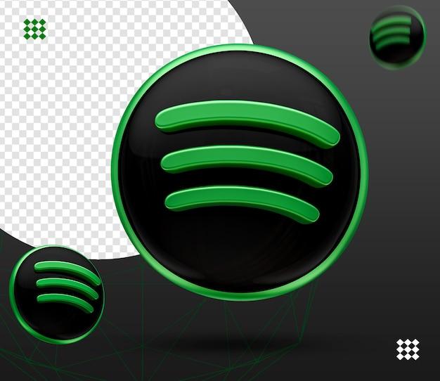 Logotipo do spotify 3d preto na frente e no lado esquerdo