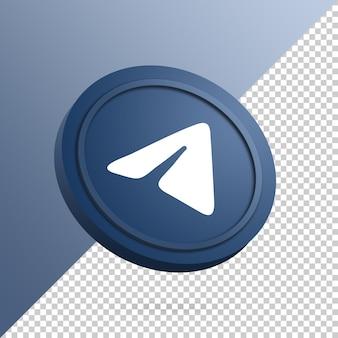 Logotipo do telegram no botão redondo renderização 3d isolada