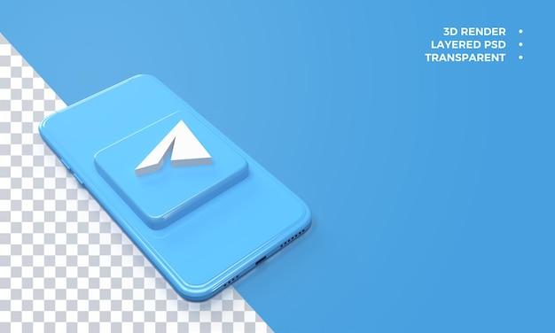 Logotipo do telegrama 3d no topo da renderização do smartphone