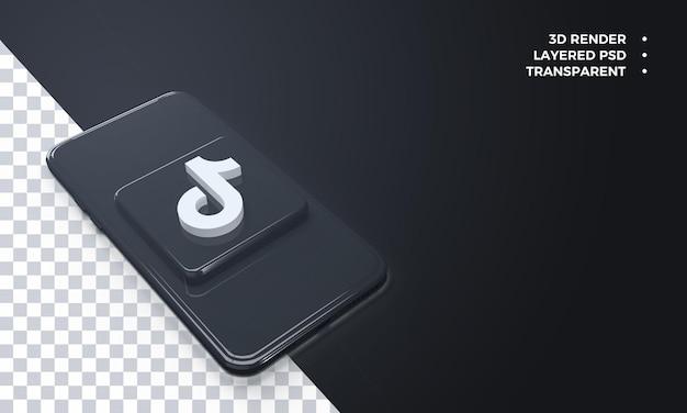 Logotipo do tiktok 3d no topo da renderização do smartphone