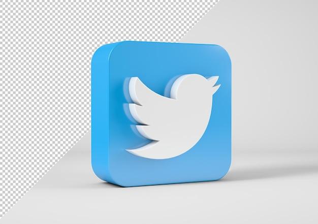 Logotipo do twiter em renderização 3d