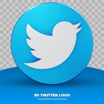 Logotipo do twitter isolado em renderização 3d