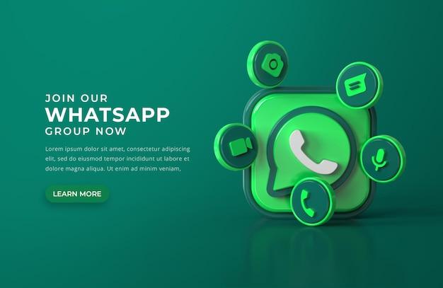 Logotipo do whatsapp 3d com ícones de bate-papo Psd grátis