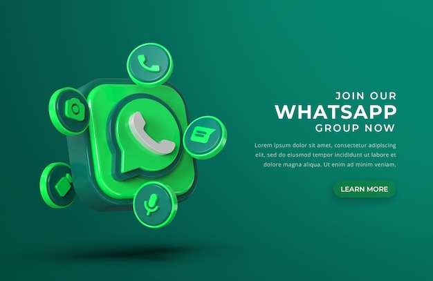 Logotipo do whatsapp 3d com ícones de bate-papo