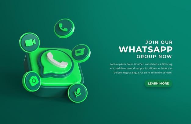 Logotipo do whatsapp 3d com ícones de bate-papo