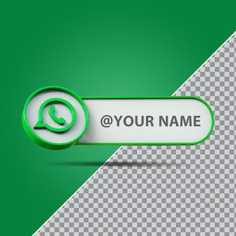 Logotipo do whatsapp de mídia social 3d com caixa de texto do rótulo