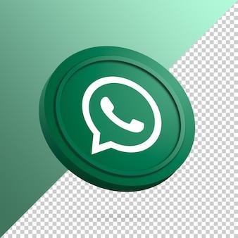 Logotipo do whatsapp no botão redondo renderização 3d isolada