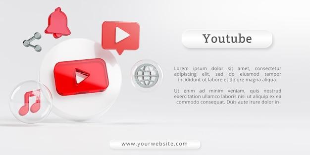 Logotipo do youtube acrílico glass e ícones de mídia social