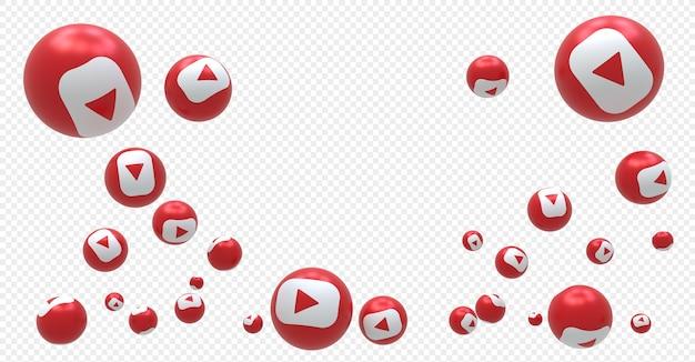 Logotipo do youtube emoji símbolo de balão de renderização em 3d com sinal do youtube