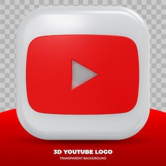 Logotipo do youtube isolado na renderização 3d