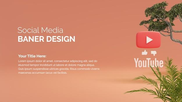 Logotipo do youtube no fundo de renderização 3d do botão