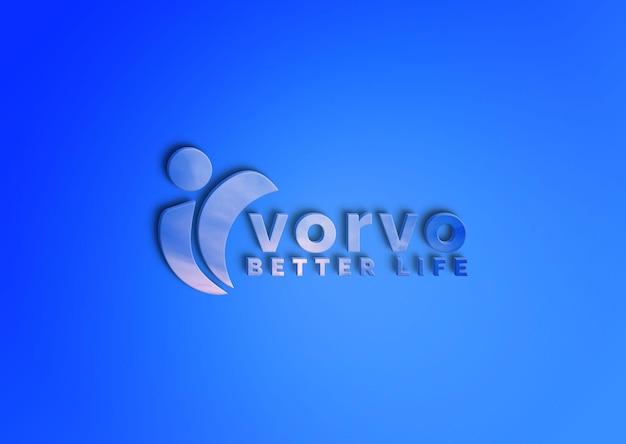 Logotipo em modelo psd de textura azul