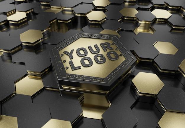 Logotipo em relevo no modelo hexagon pedestal