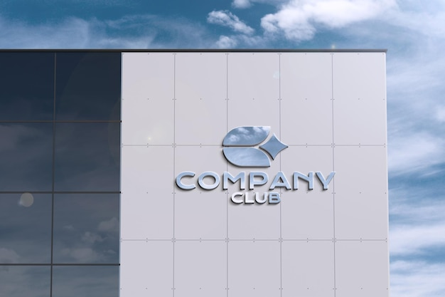 Logotipo em um grande edifício moderno - maquete de letreiro luminoso