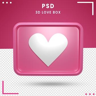 Logotipo girado 3d da caixa de amor