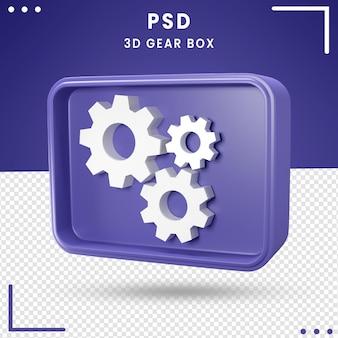 Logotipo girado 3d da caixa de engrenagens