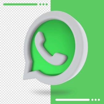 Logotipo girado 3d do whatsapp em renderização 3d