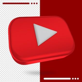 Logotipo girado em 3d do youtube em renderização em 3d