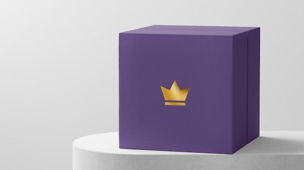 Logotipo luxuoso maquete violeta caixa de relógio