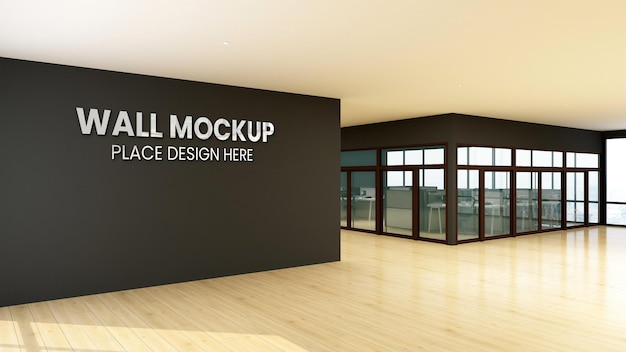Logotipo maquete assinar escritório parede preta