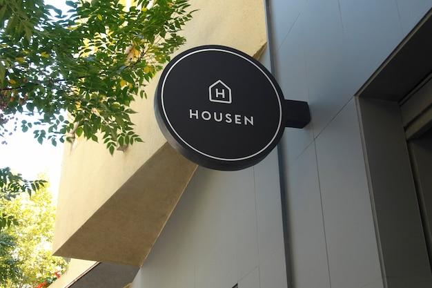 Logotipo mockup preto circular suspensão sinal