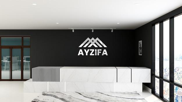 Logotipo mockup recepcionista sala de escritório