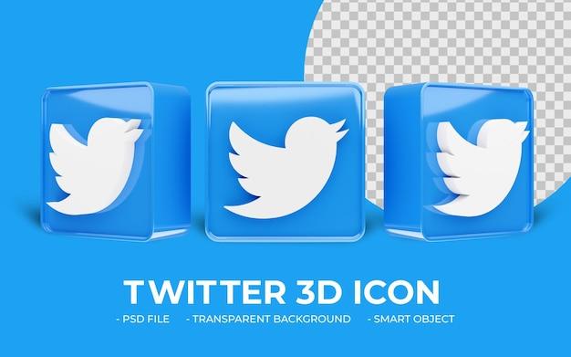 Logotipo moderno do twitter ícone 3d isolado de mídia social em 3d