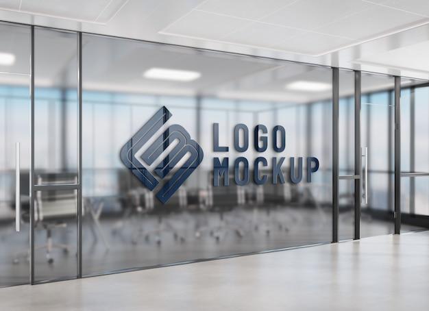 Logotipo na janela do escritório maquete Psd Premium