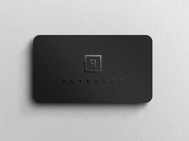 Logotipo preto em relevo no modelo de cartão de visita preto
