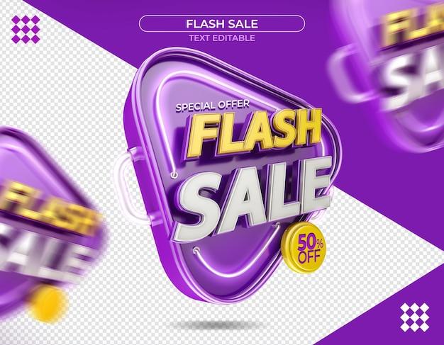 Logotipo promocional em renderização 3d isolada venda flash 3d