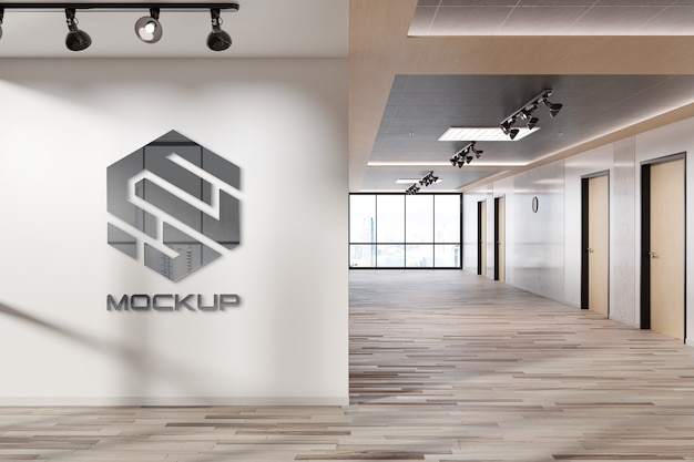 Logotipo reflexivo na maquete da parede do escritório