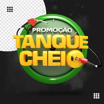 Logotipo renderiza promoção gasolina isolado tanque cheio