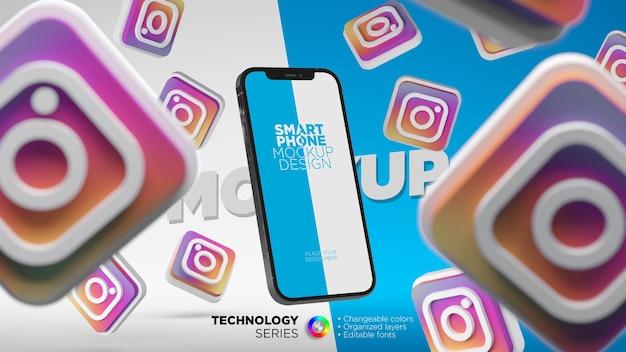 Logotipos do instagram voador com maquete de tela do smartphone