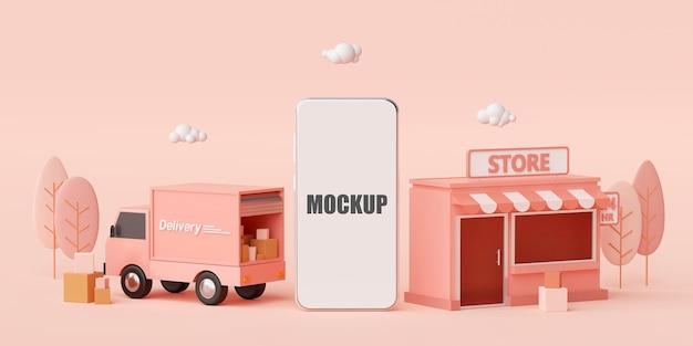 Loja conceito de comércio eletrônico, compras online e serviço de entrega