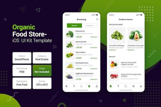 Loja de alimentos orgânicos e naturais aplicativos móveis
