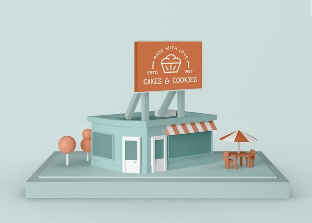 Loja de bolos e biscoitos de anúncio exterior