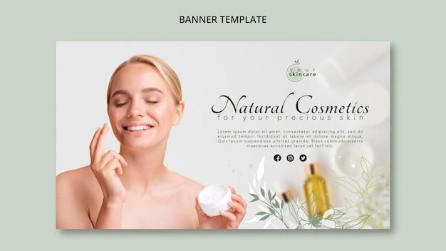 Loja de cosméticos naturais de modelo de banner