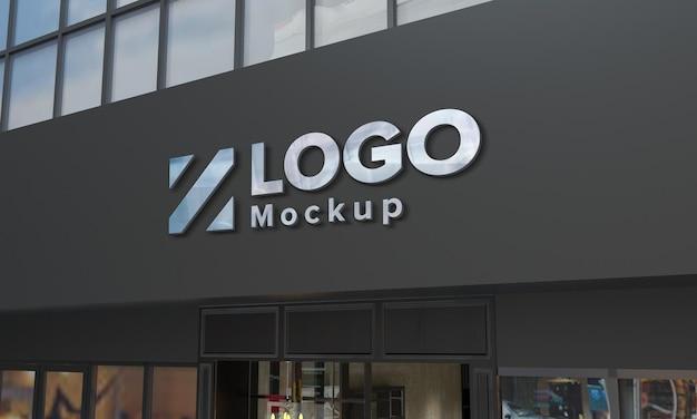 Loja de design de maquete de logotipo edifício closeup 3d renderizado