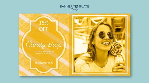 Loja de doces e oferece modelo de banner