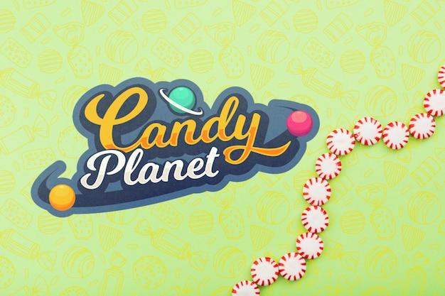Loja de doces planeta com gotas de doces