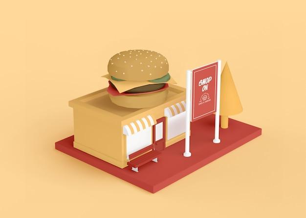 Loja de hambúrguer de anúncio exterior