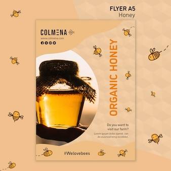 Loja de mel de modelo de panfleto