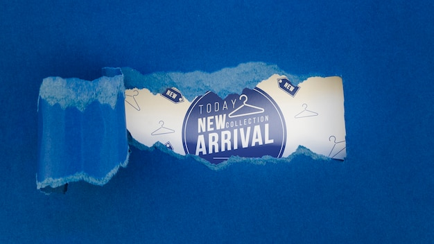 Loja de roupas leigos plana mock-up nova chegada no papel
