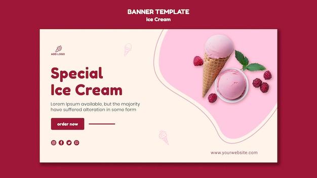 Loja de sorvete de modelo de banner