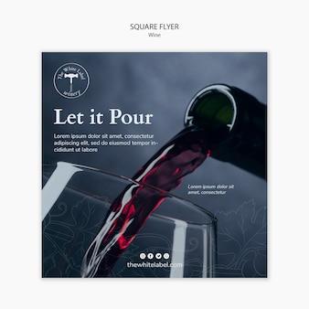 Loja de vinho de modelo de panfleto quadrado