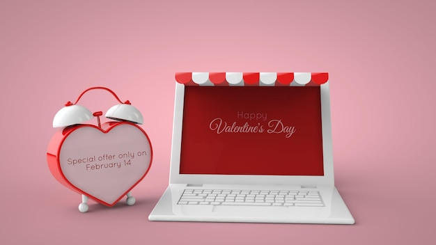 Loja online e maquete de venda do dia dos namorados do marketplace. ilustração 3d.