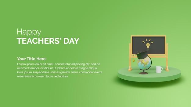 Lousa de renderização 3d com um pódio em um fundo verde banner de celebração do feliz dia dos professores